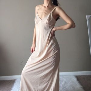 Vintage 70s' glossy nude maxi gown/slip
